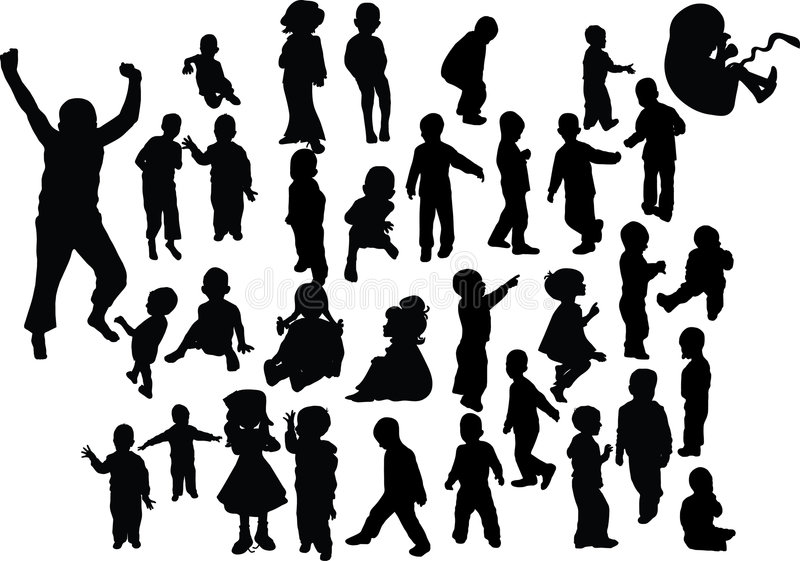 De kinderen silhouetteren stock illustratie