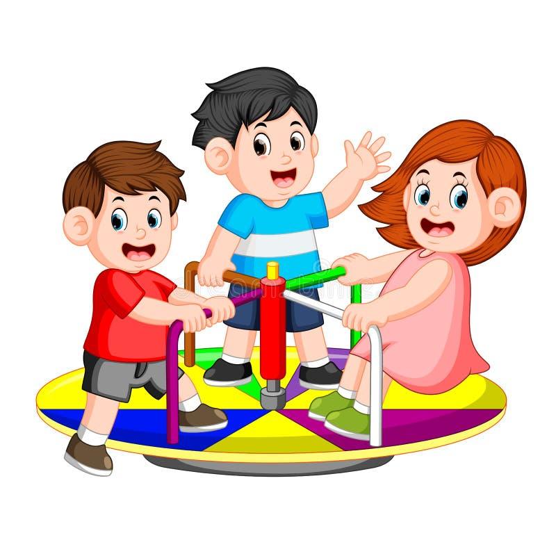 De kinderen spelen carrousel met genoegen stock illustratie