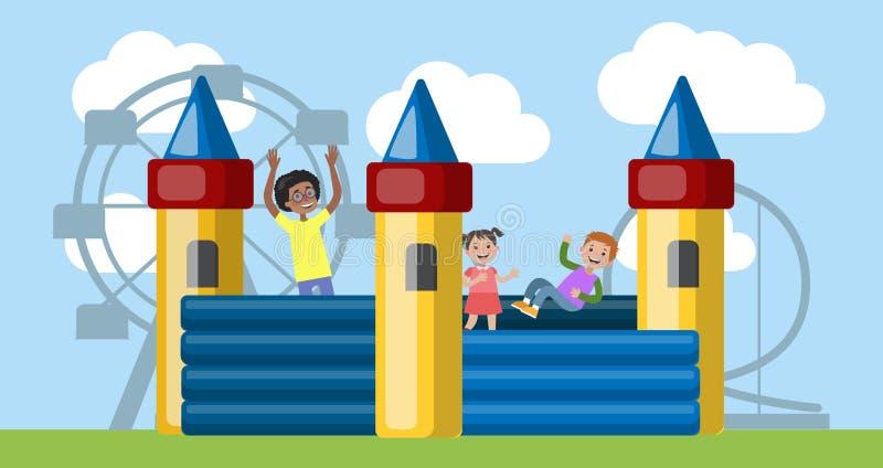 De kinderen spelen in het bouncykasteel in pretpark stock illustratie