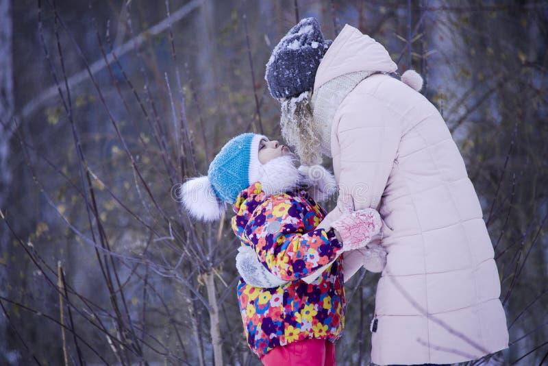 De kinderen spelen in het Park in de winter royalty-vrije stock foto's
