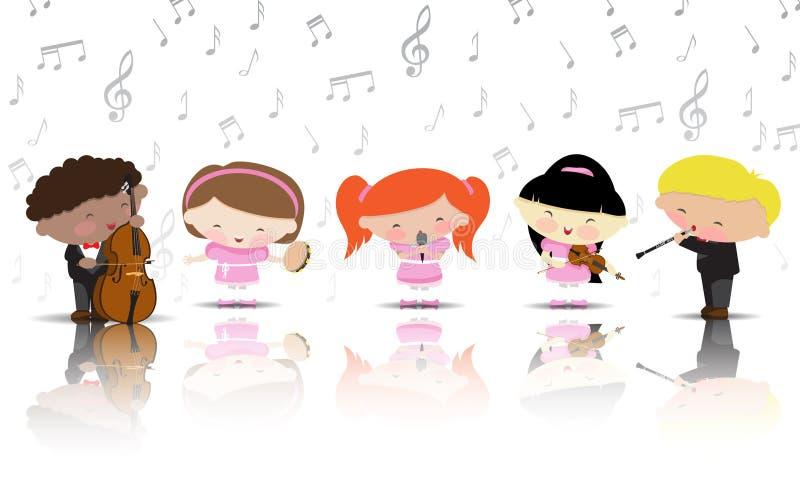 De kinderen spelen muzikale instrumenten royalty-vrije stock foto's
