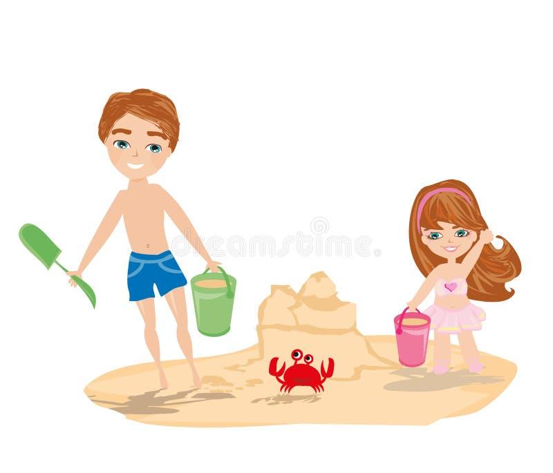 De kinderen spelen op een strand royalty-vrije illustratie
