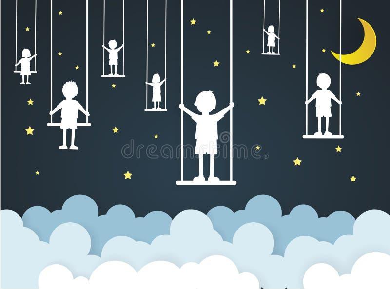 De kinderen spelen schommeling op hemel met nacht stock illustratie