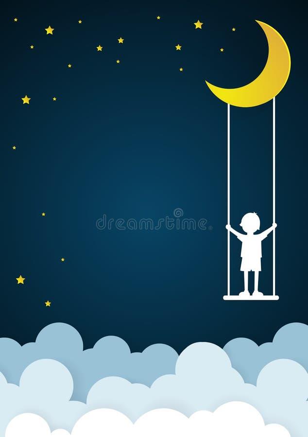 De kinderen spelen schommeling op hemel met nacht vector illustratie