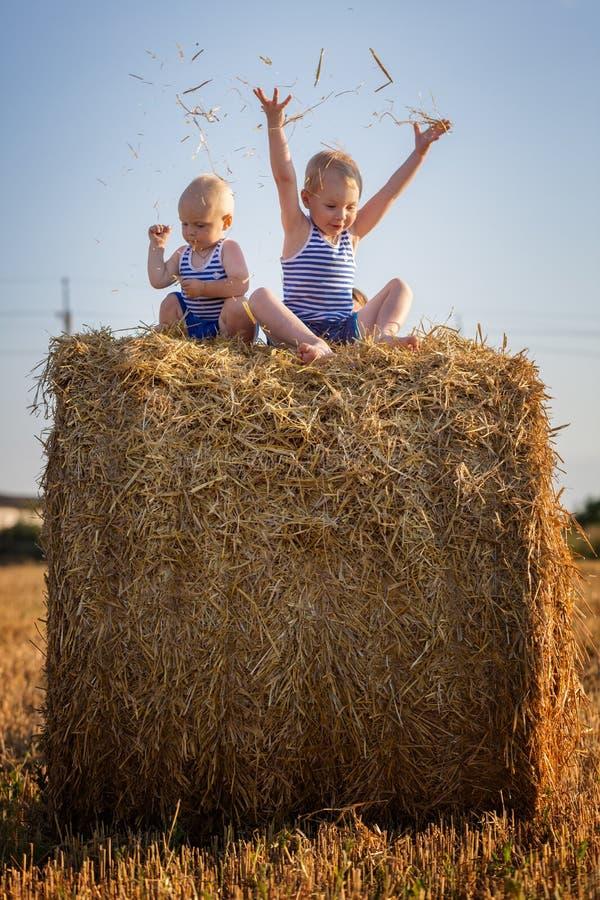 De kinderen spelen zitting op een hooiberg royalty-vrije stock fotografie