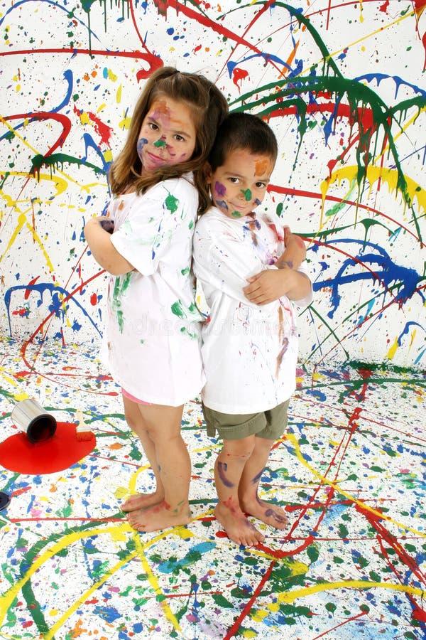 De Kinderen van de verf stock afbeeldingen
