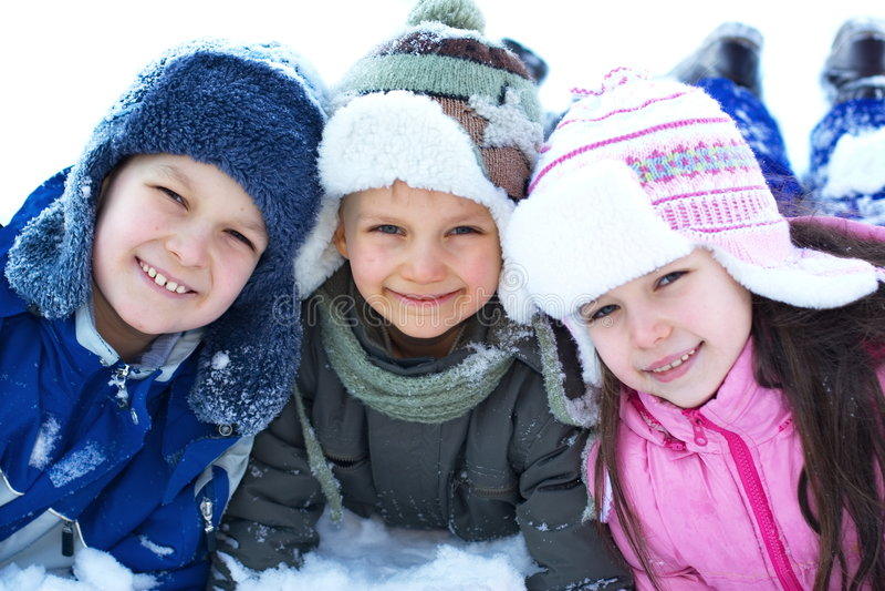 De Kinderen van de winter royalty-vrije stock foto