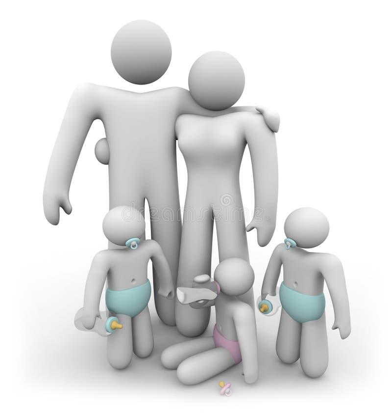 De Kinderen van het drietal en hun Ouders royalty-vrije illustratie