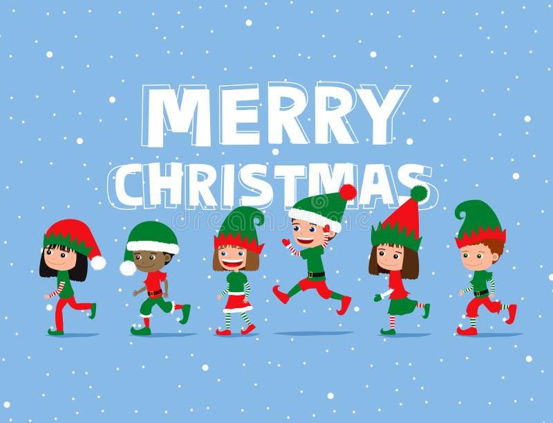 De Kinderen van Kerstmis Leuke beeldverhaaljonge geitjes die elfkostuums dragen royalty-vrije illustratie