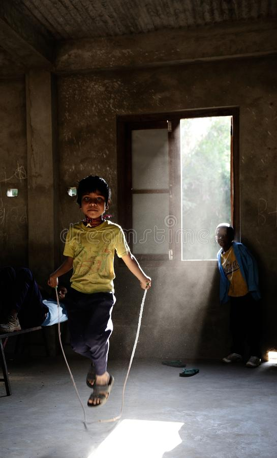 De Kinderen van Nepali stock afbeelding