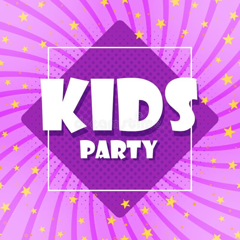 De kinderen van de partij zijn een kleurrijke banner Beeldverhaalbladeren en violette achtergrond Abstracte kleurengammaachtergro vector illustratie