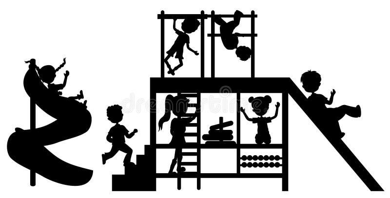 De Kinderen Van Silhouetten Op Speelplaats Royalty-vrije Stock Afbeelding