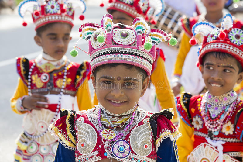 De kinderen van Srilankan in het Katina-festival Sluit omhoog royalty-vrije stock afbeelding