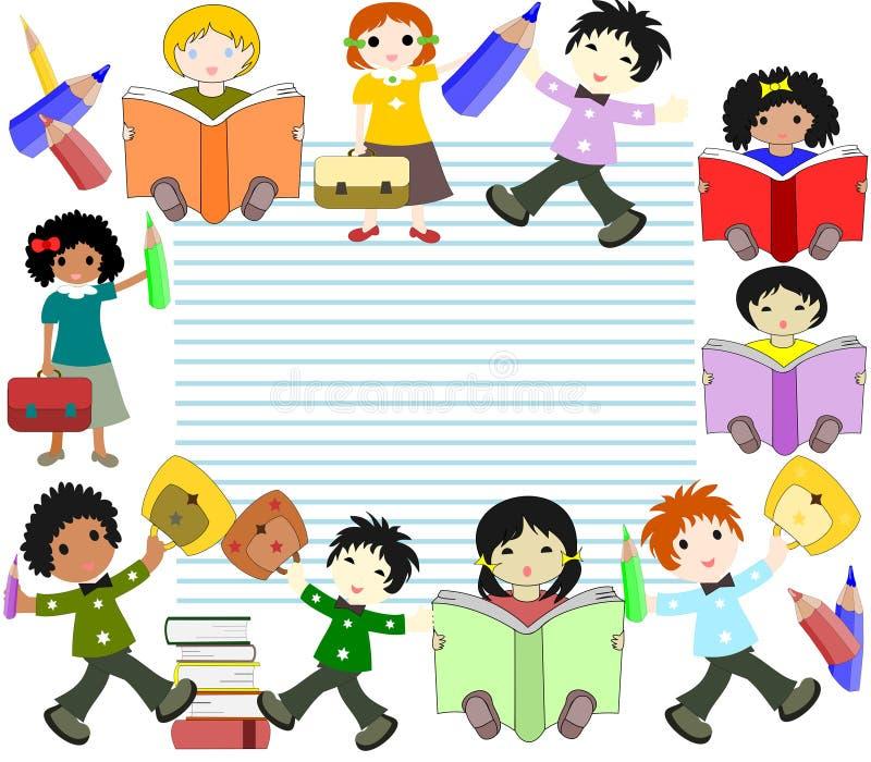De kinderen van verschillende rassen lezen boeken en gaan naar school royalty-vrije illustratie