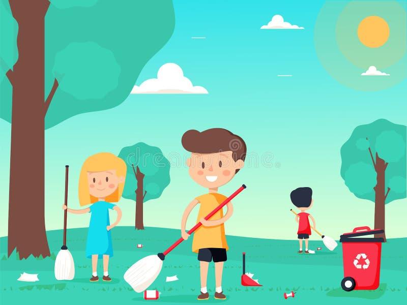 De kinderen vegen en maken de speelplaats schoon royalty-vrije illustratie