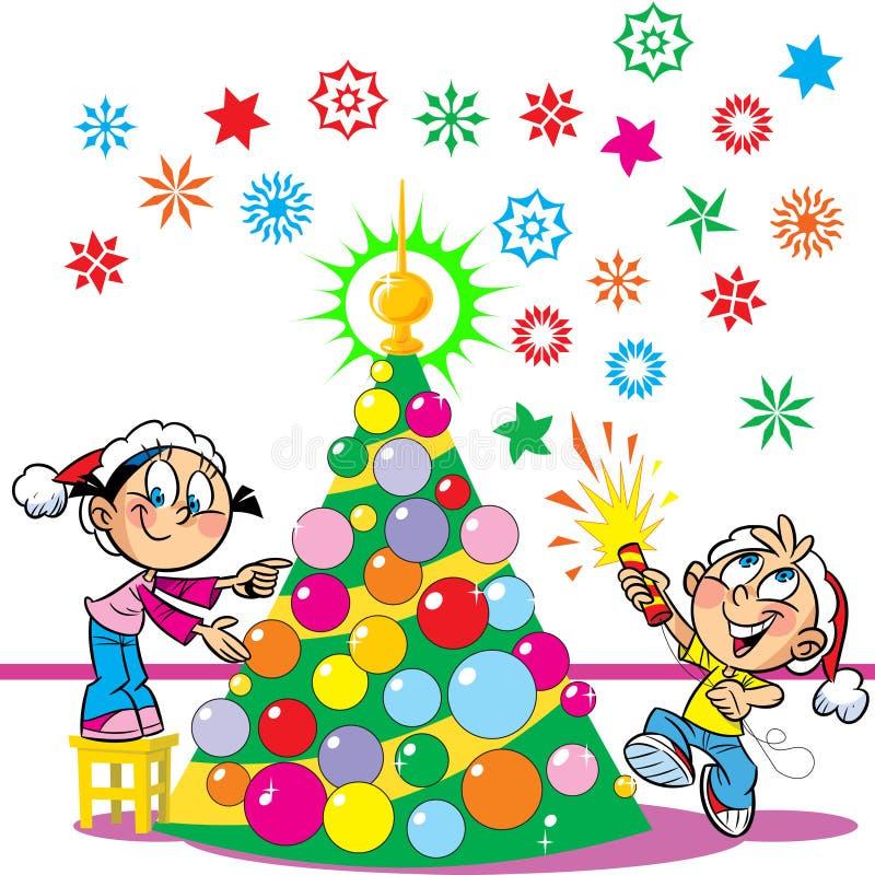 De kinderen verfraaien de Kerstboom stock illustratie