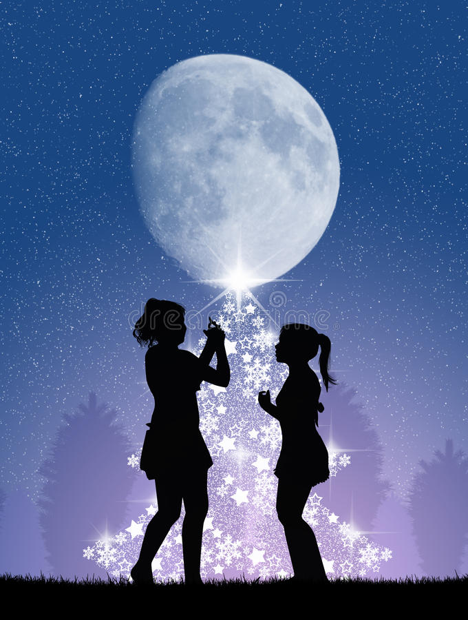 De kinderen verfraaien de Kerstboom vector illustratie