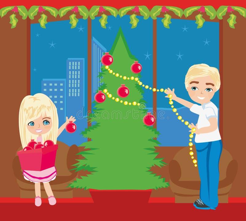 De kinderen verfraaien de Kerstboom royalty-vrije illustratie