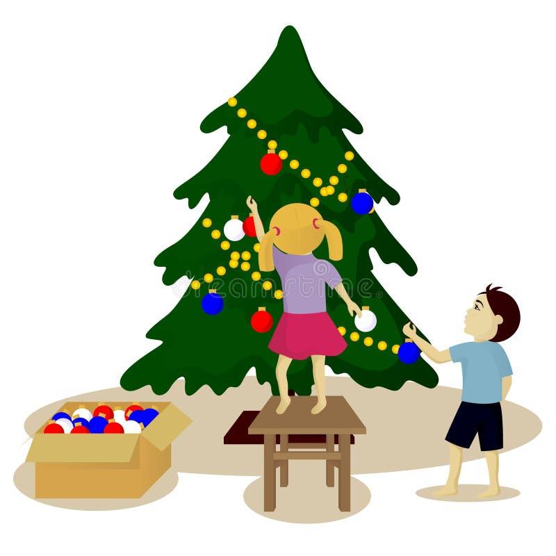 De kinderen verfraaien Kerstboom vector illustratie