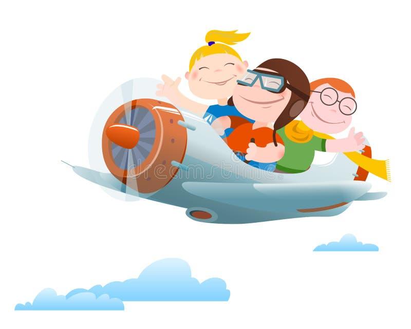 De kinderen vliegen door enig-motorvliegtuig royalty-vrije illustratie