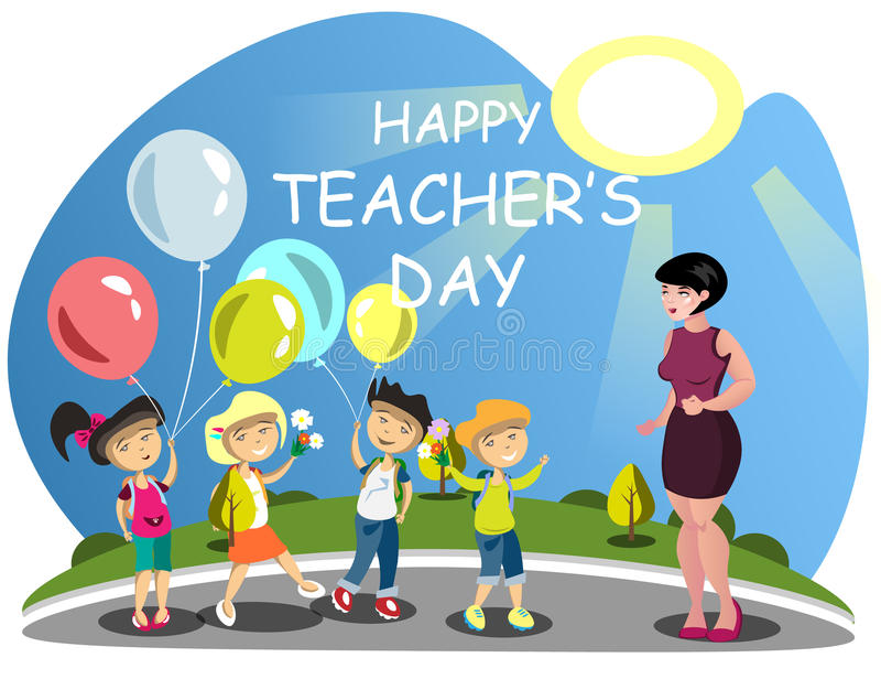 De kinderen wenst de leraar met bloemen geluk royalty-vrije illustratie