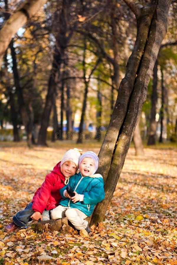 De kinderen werpen de herfstbladeren 6 stock foto's