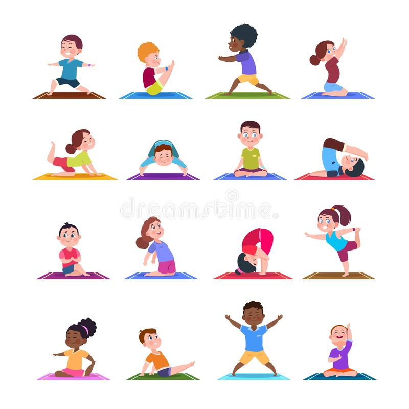 De kinderen in yoga stelt De jonge geitjes van de beeldverhaalgeschiktheid in yogaasana Vectorkarakters geïsoleerde reeks royalty-vrije illustratie