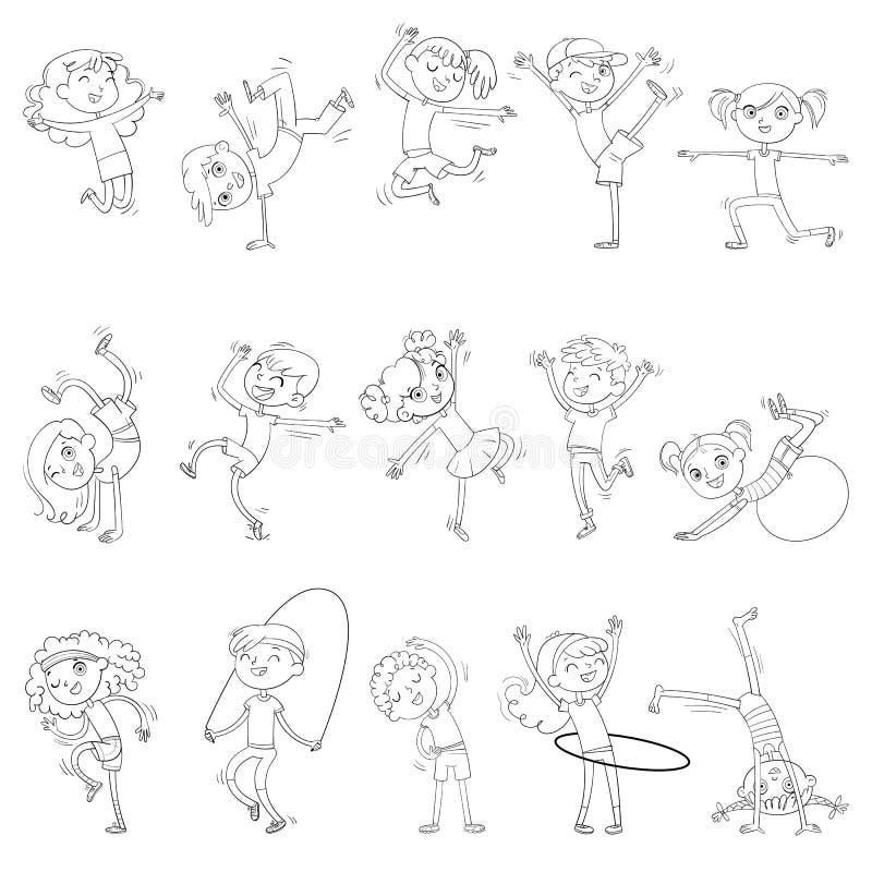De kinderen zijn bezig geweest met verschillende soorten sporten Geschiktheid Het dansen breakdance Kleurend boek royalty-vrije illustratie