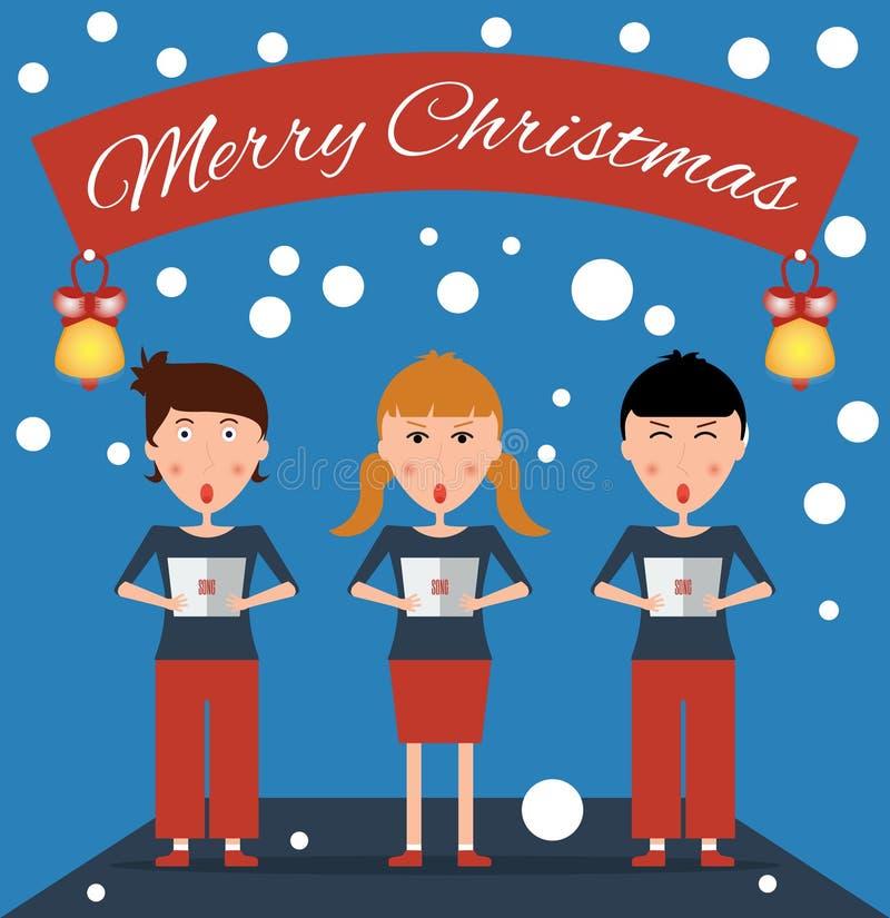 De kinderen zingen Kerstmisliederen met een aanplakbiljet royalty-vrije illustratie