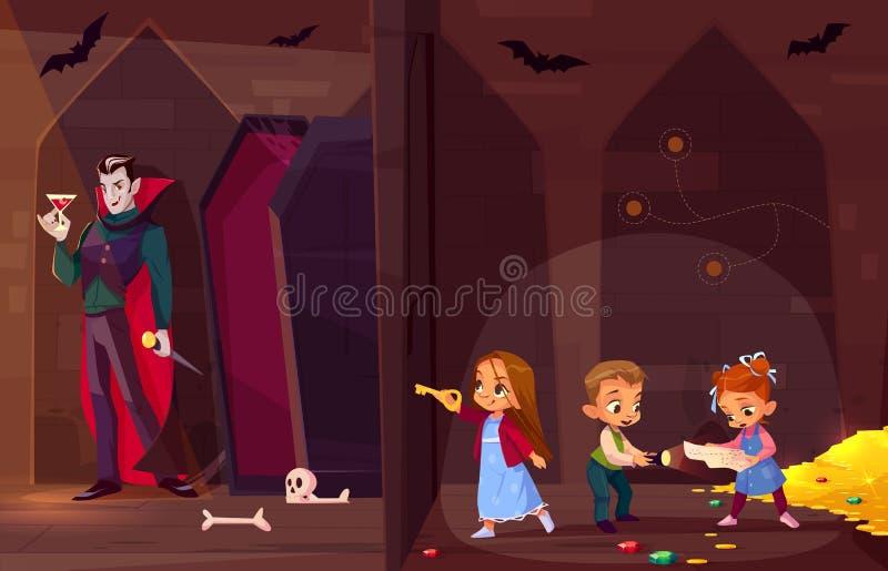 De kinderen in zoektocht ontsnappen aan de vector van het ruimtebeeldverhaal vector illustratie