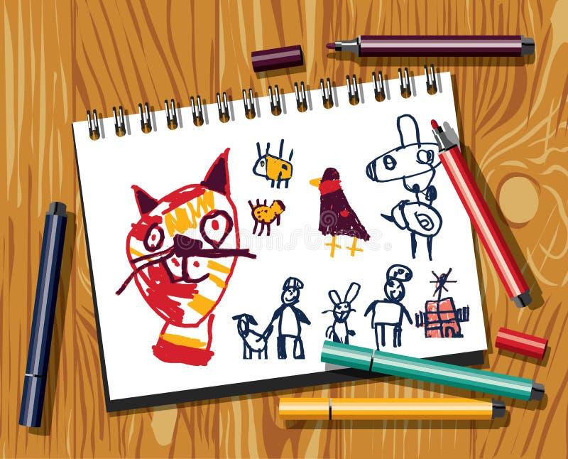 De kinderenkrabbels trekken kat gevoeld pendocument en houten achtergrond vector illustratie