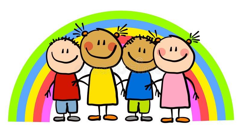 De kinderlijke Jonge geitjes van de Regenboog van de Tekening vector illustratie
