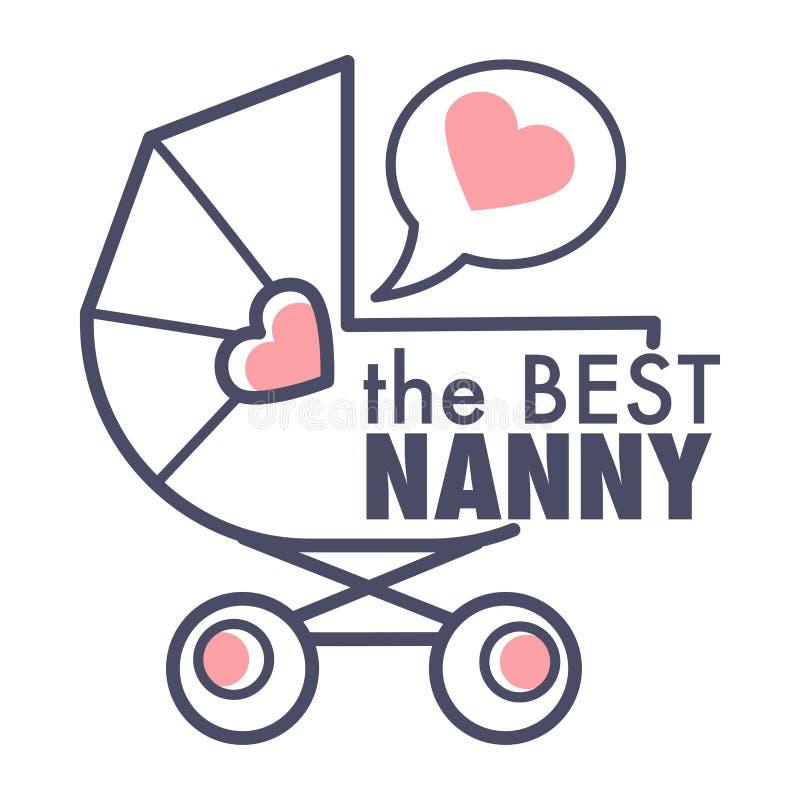 De kindermeisjedienst isoleerde de kinderwagen en het hart van het overzichtspictogram in toespraakbel vector illustratie