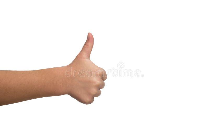 De kindhand toont dreun Positief teken van overeenkomst en als stock foto