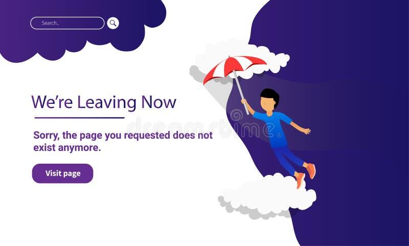 De kindvlieg met paraplu voor landingspaginawebsite en de mobiele website ontwerpen en ontwikkeling royalty-vrije illustratie