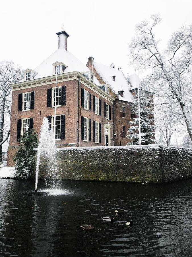 DE Kinkelenburg Kaste in Bemmel in de Winter stock afbeelding