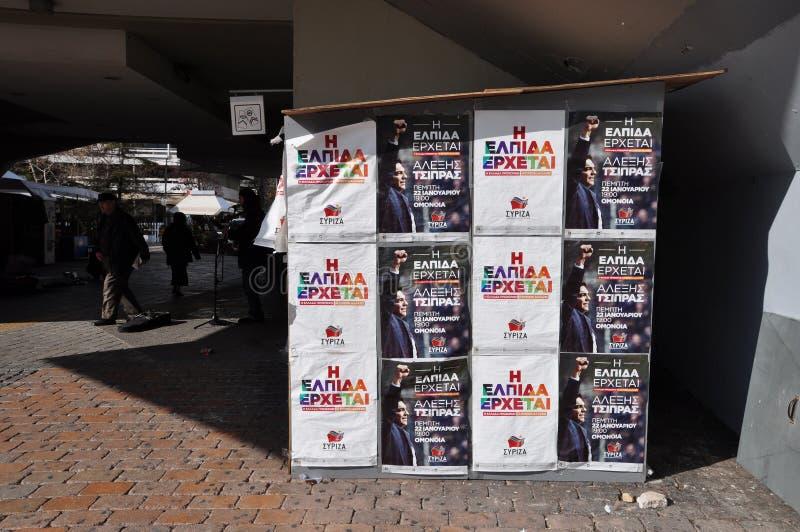 De kioskaffiches van de Syrizacampagne royalty-vrije stock fotografie