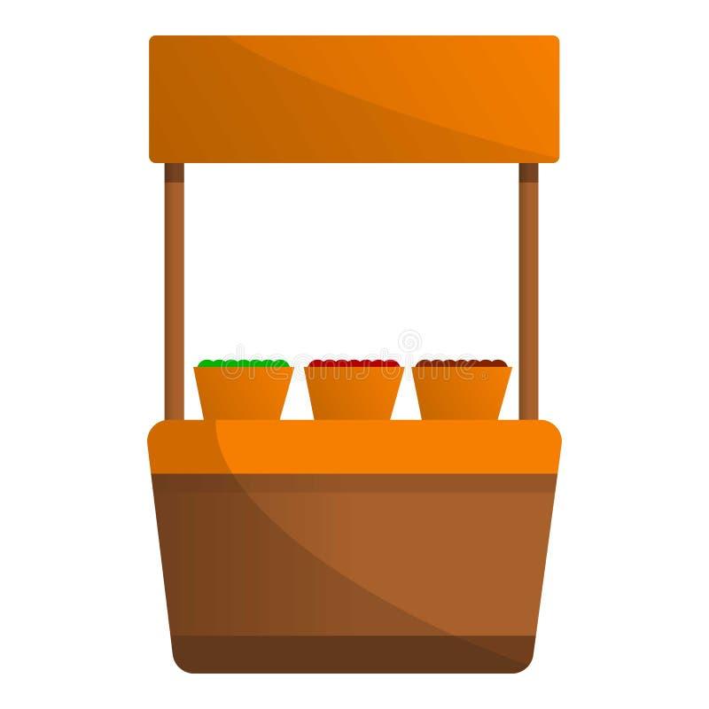 De kioskpictogram van de groentenstraat, beeldverhaalstijl vector illustratie