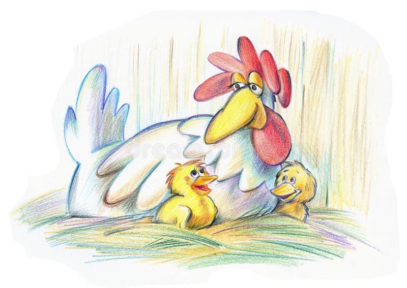 De kip van de moeder royalty-vrije illustratie