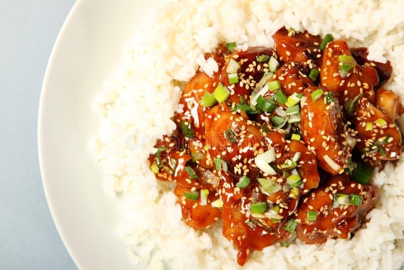 De kip van de sesam met rijst royalty-vrije stock foto's