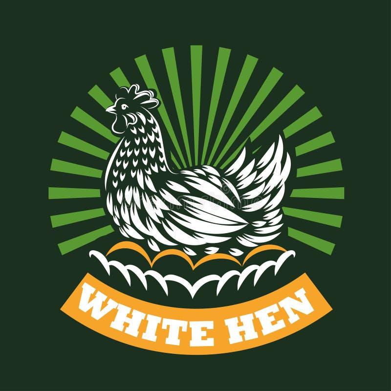 De kip zit op eieren Vectorillustratie van kip Embleemillustratie vector illustratie