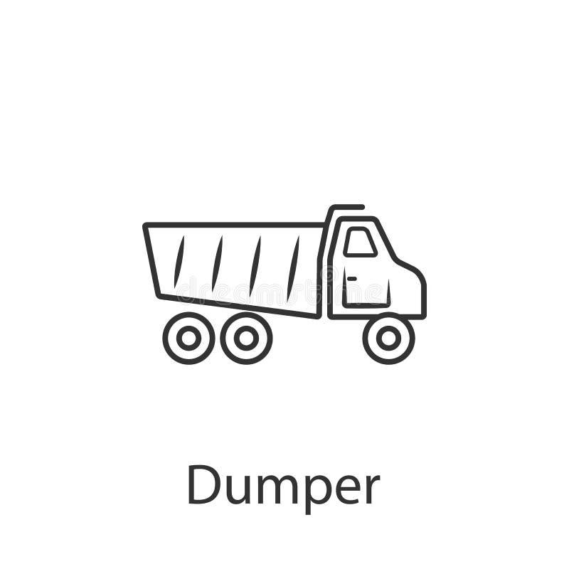 De kipperspictogram van de stortplaatsvrachtwagen Eenvoudige elementenillustratie Het ontwerp van het de kipperssymbool van de st stock illustratie
