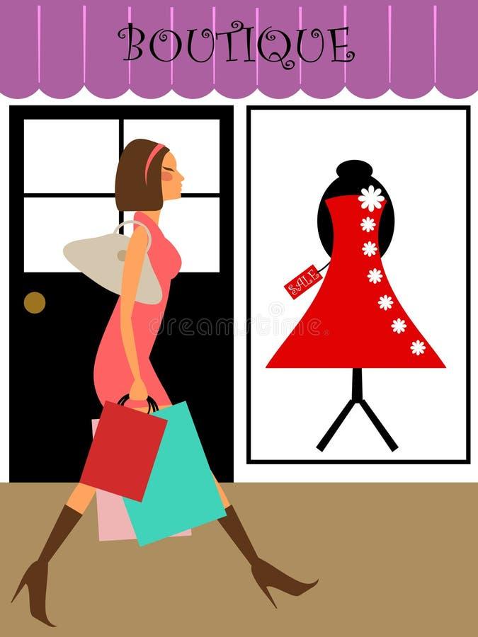 De Klant die van de vrouw in de Opslag van de Boutique loopt stock illustratie