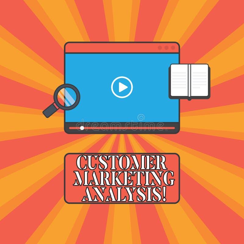 De Klant van de handschrifttekst Marketing Analyse Concept die evaluatie van gegevens verbonden aan de Tablet Videospeler van de  stock afbeelding
