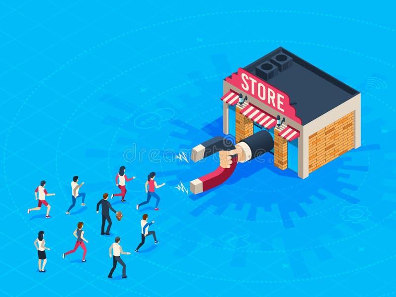 De klanten van de opslagaantrekkelijkheid De marktmagneet trok loyale klant aan Naderend op de markt brengend trek isometrische c stock illustratie