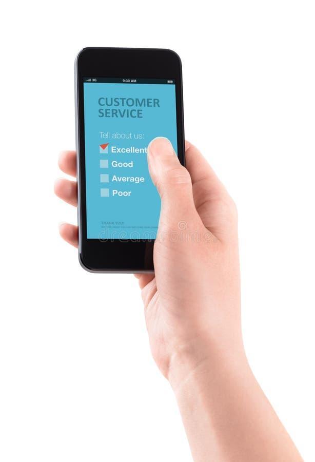 De klantendienst koppelt op mobiel terug stock foto's