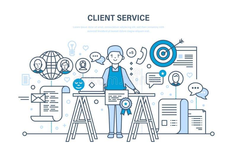 De klantendienst, probleem het oplossen, mededeling en mededeling, technische ondersteuning royalty-vrije illustratie