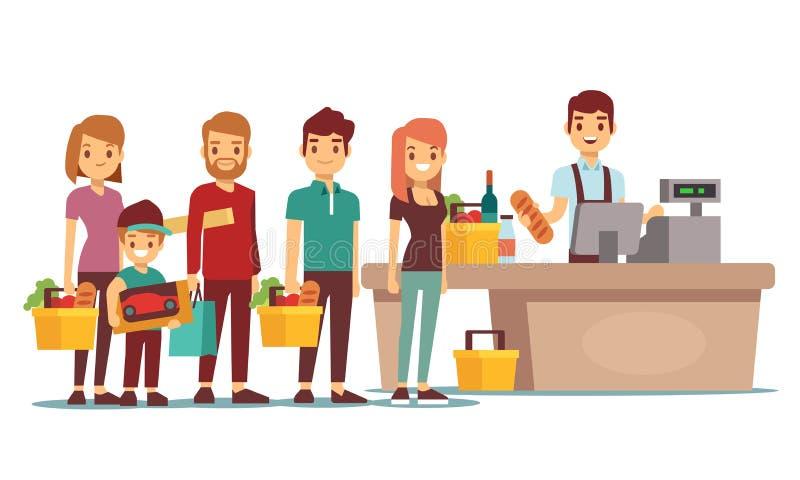 De klantenmensen vormen bij kassa met kassier in supermarkt een rij Het winkelen vectorconcept vector illustratie