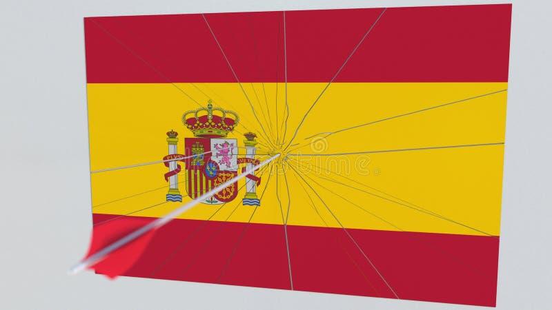 De klappenvlag van de boogschietenpijl van de plaat van SPANJE Het conceptuele 3d teruggeven royalty-vrije illustratie