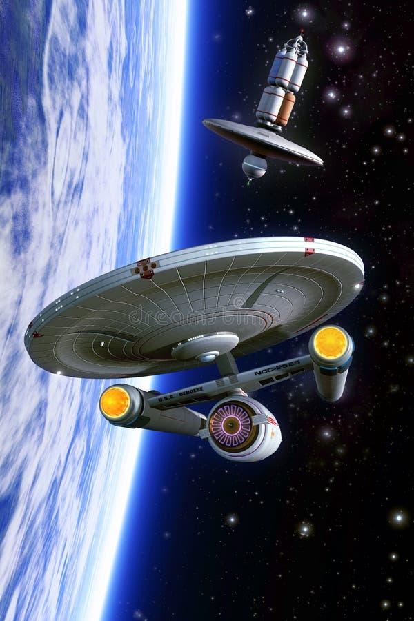 De klasse en het ruimtestation van de Starshipkruisboog stock illustratie